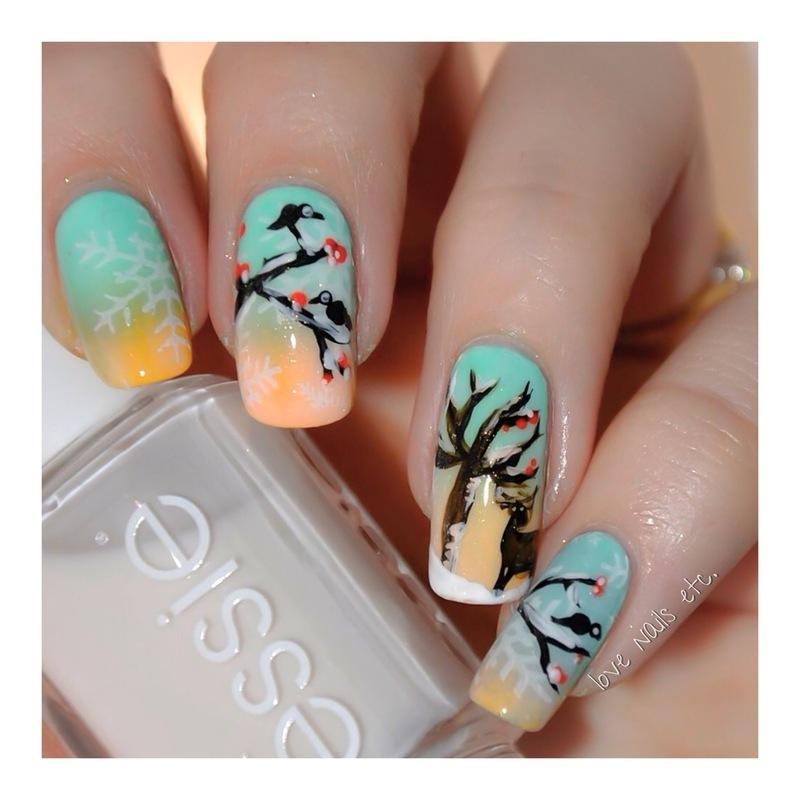 Winter Landscape nail art by Love Nails Etc