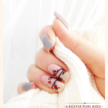 Winter berries nail art by Bazavan Diana