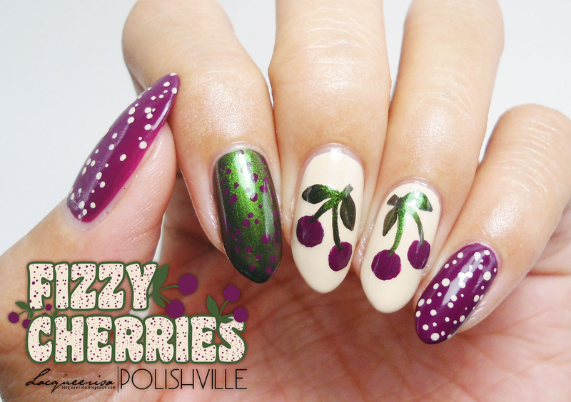 Fizzy Cherries nail art by Lacqueerisa