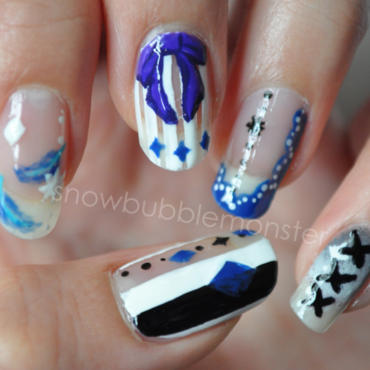 Kuroshitsuji Book of Circus: Ciel Phantomhive Inspired Nails nail art by snowbubblemonster
