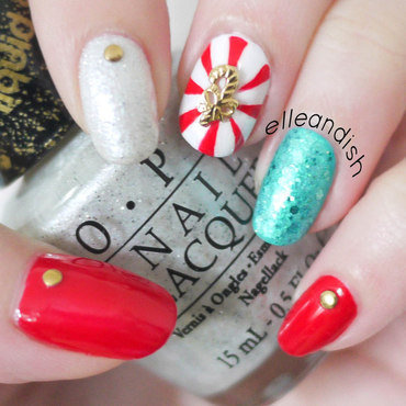 Holiday Peppermint Nails nail art by elleandish
