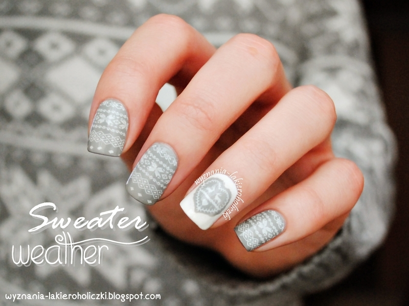 Fabulous Sweather Weather Snowflake Stamping Nails  nail art by Born Pretty