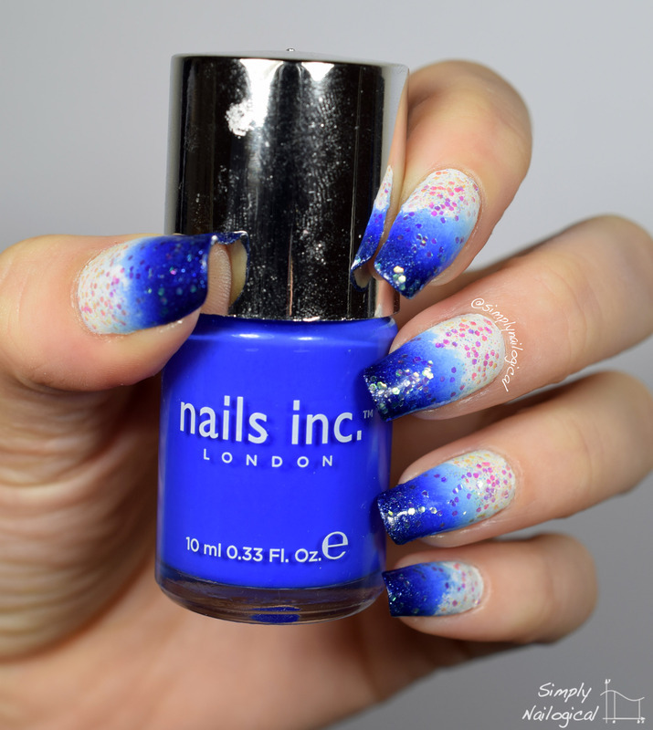 Snowy winter glitters over blue gradient nail art by simplynailogical