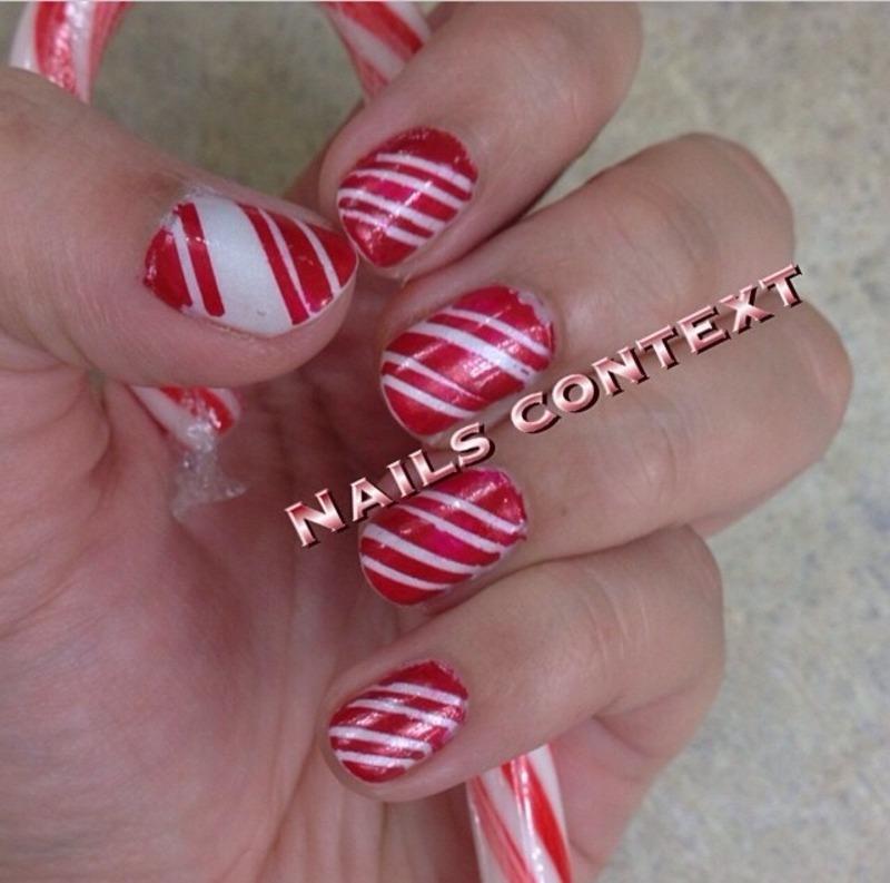 Candy Cane Nails nail art by NailsContext