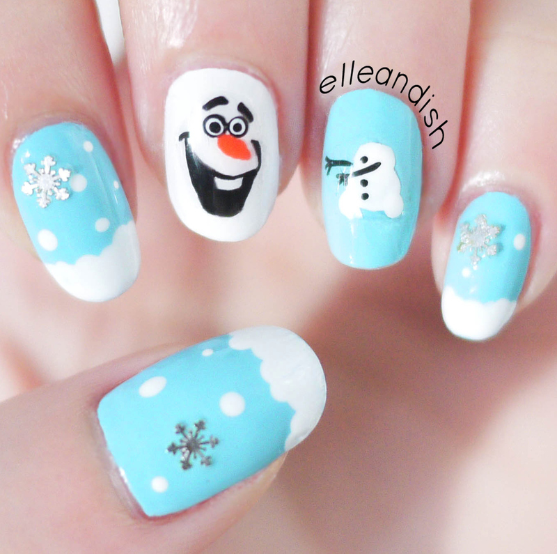 Frozen Olaf Nails nail art by elleandish