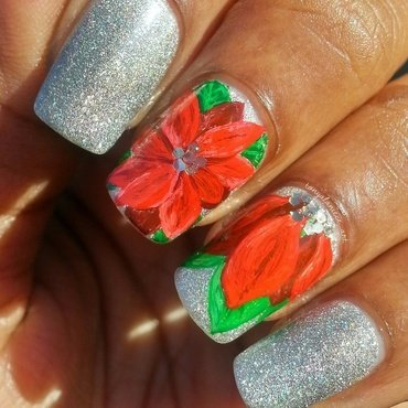 Poinsettias nail art by Tonya