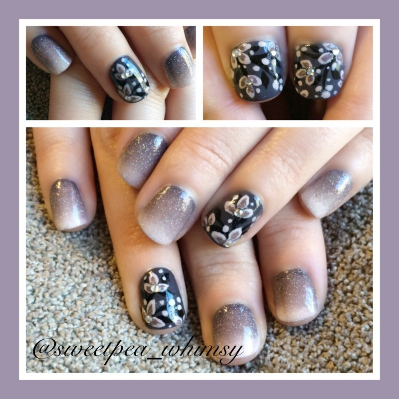 Gray/Lavender Glittered Gradient & Floral nail art by SweetPea_Whimsy