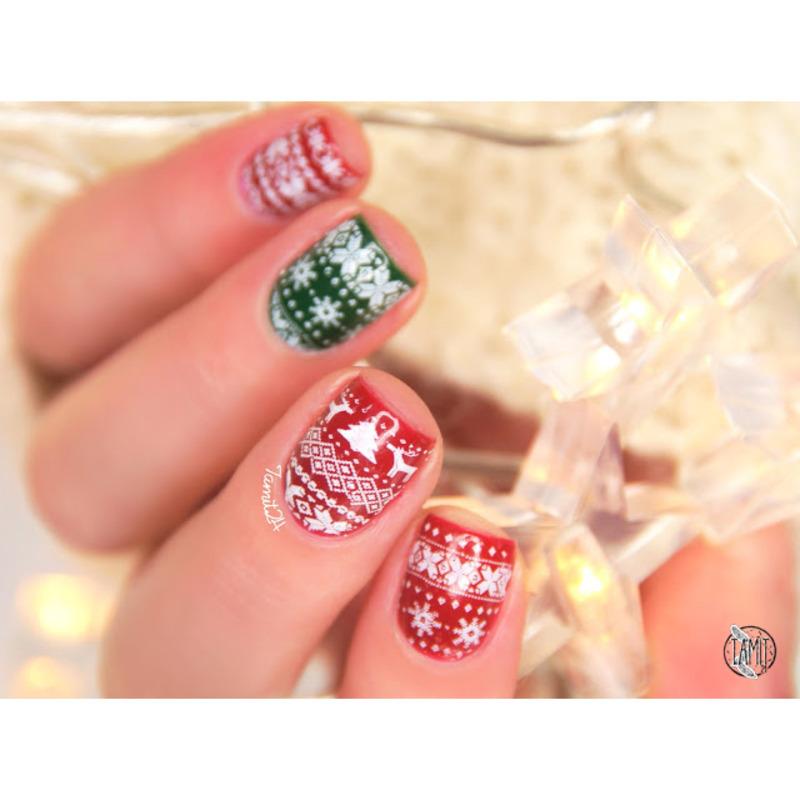 Nordic winter stamping nail art by Paulina