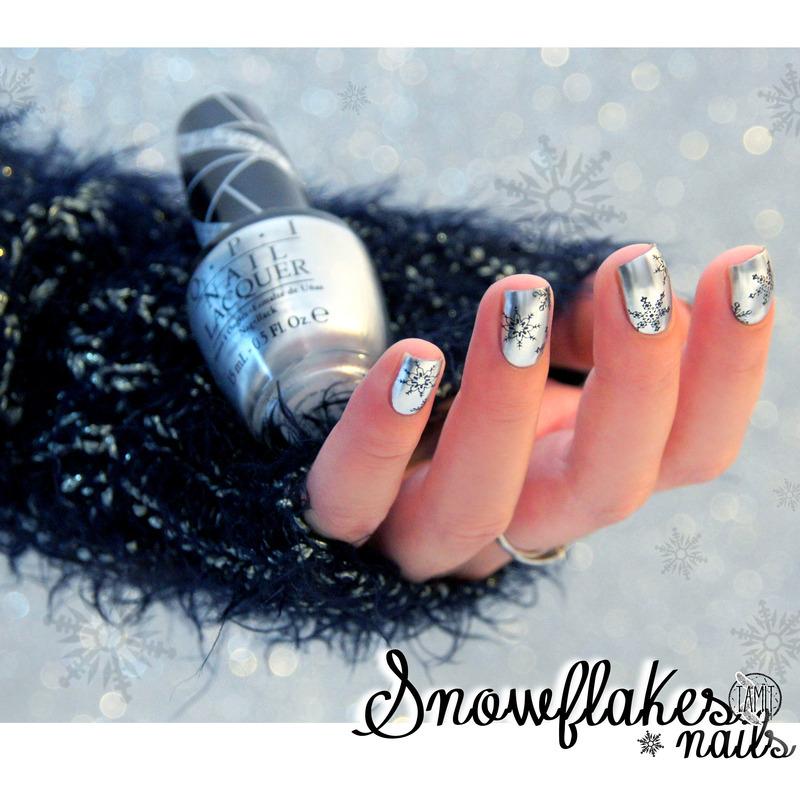 Silver snowflakes. nail art by Paulina