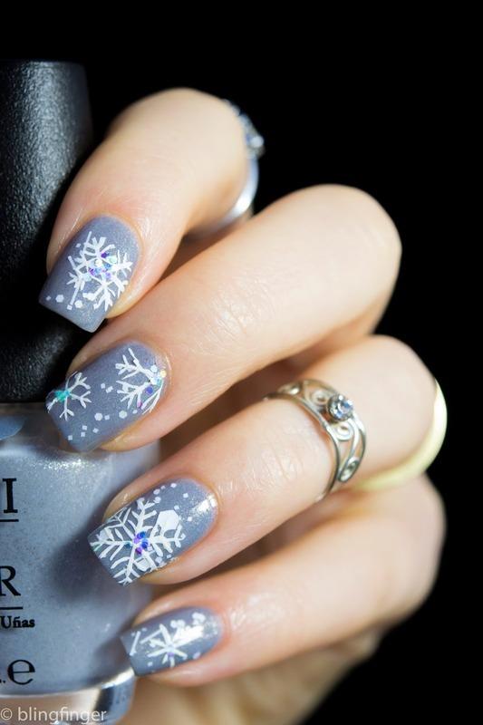Snowflake Winter Nails nail art by  Petra  - Blingfinger