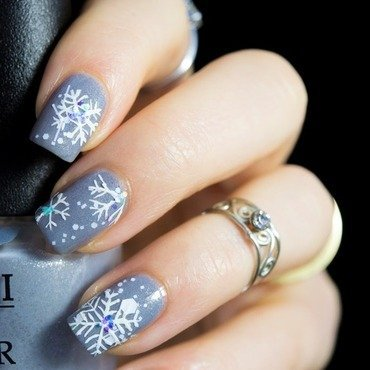 Snowflake Winter Nails nail art by  Petra  - Blingfinger