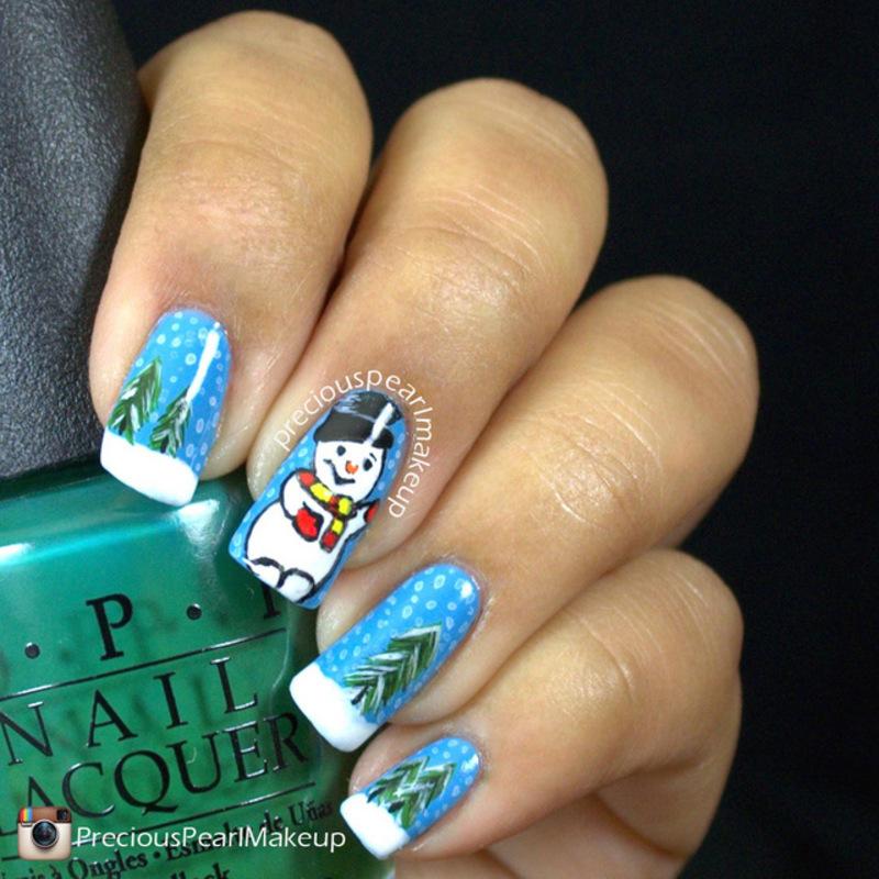 Snowman nail art by Pearl P.