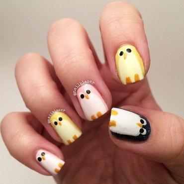 Milkshake Penguins nail art by Nailblazer