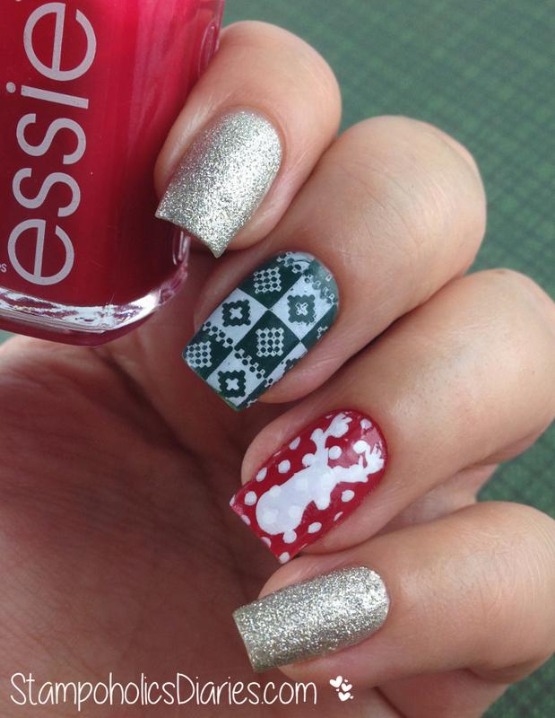 Holiday Nails with Essie nail art by Natasha