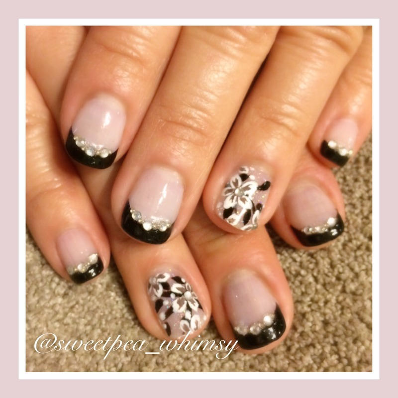 Black French Manicure & Floral nail art by SweetPea_Whimsy
