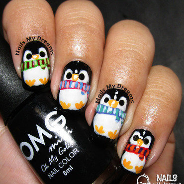 Penguins Nail Art nail art by Kat of NailsMyDreams