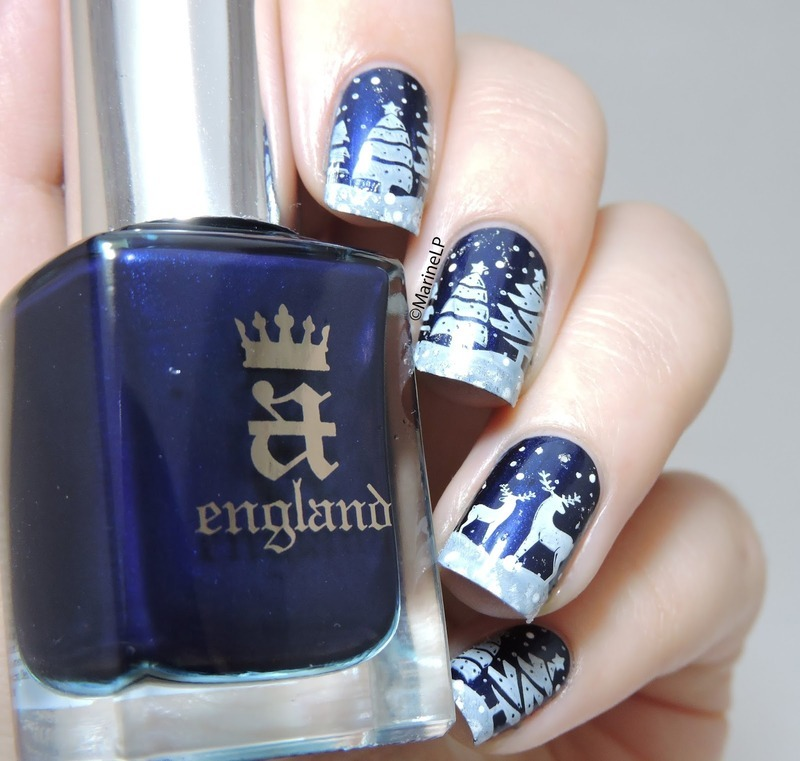 Fancy Snow Scenery Stamping Nails  nail art by Born Pretty