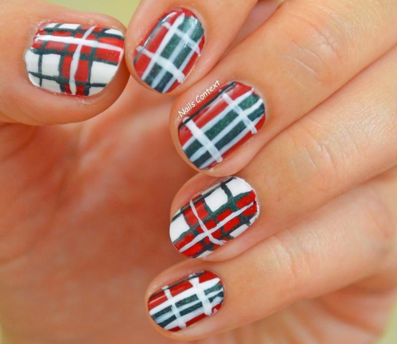 Christmas Plaid Nails nail art by NailsContext