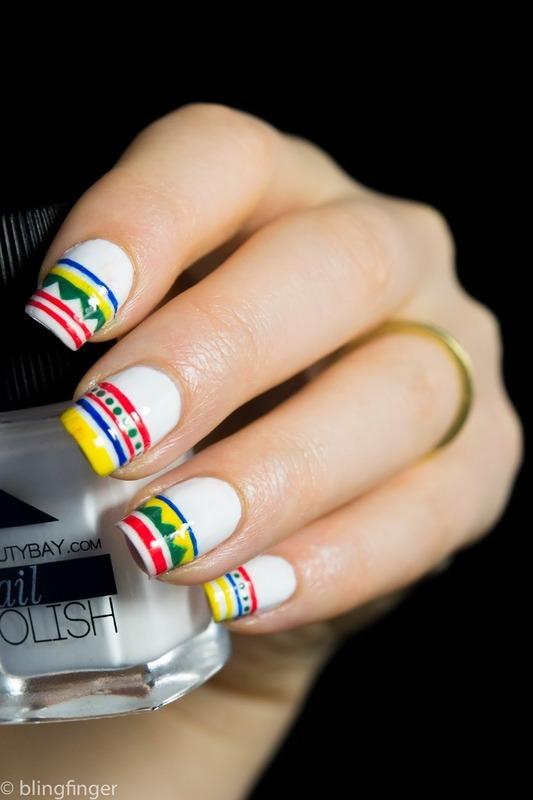 Tribal French Tips nail art by  Petra  - Blingfinger