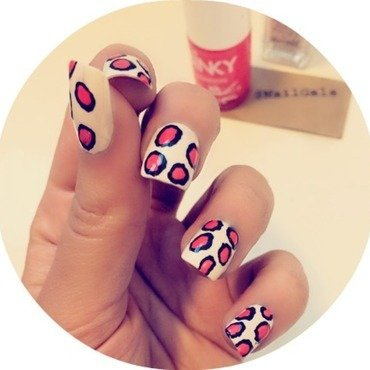 Coral Cheetah spots Mani nail art by NailGals