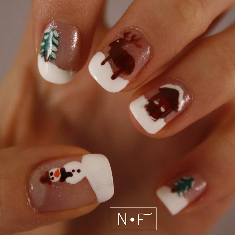 Snowy landscape nail art by NerdyFleurty