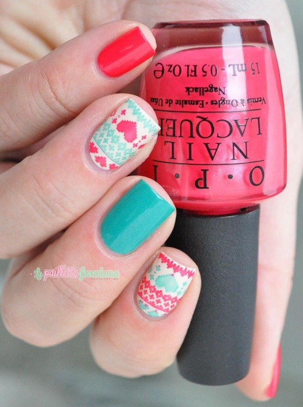 Christmas jumper in bright colors nail art by nathalie lapaillettefrondeuse