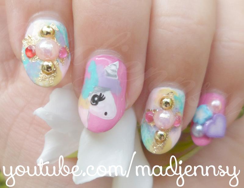 Cute Unicorn Gyaru Nail Art nail art by madjennsy Nail Art