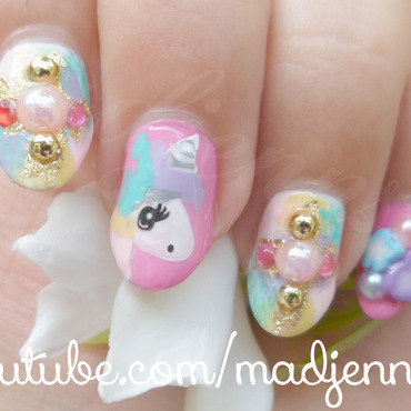 Cute Unicorn Gyaru Nail Art nail art by madjennsy Nail Art