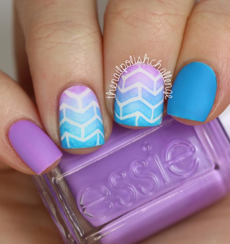 Geometric Arrowhead Gradient nail art by Kelli Dobrin