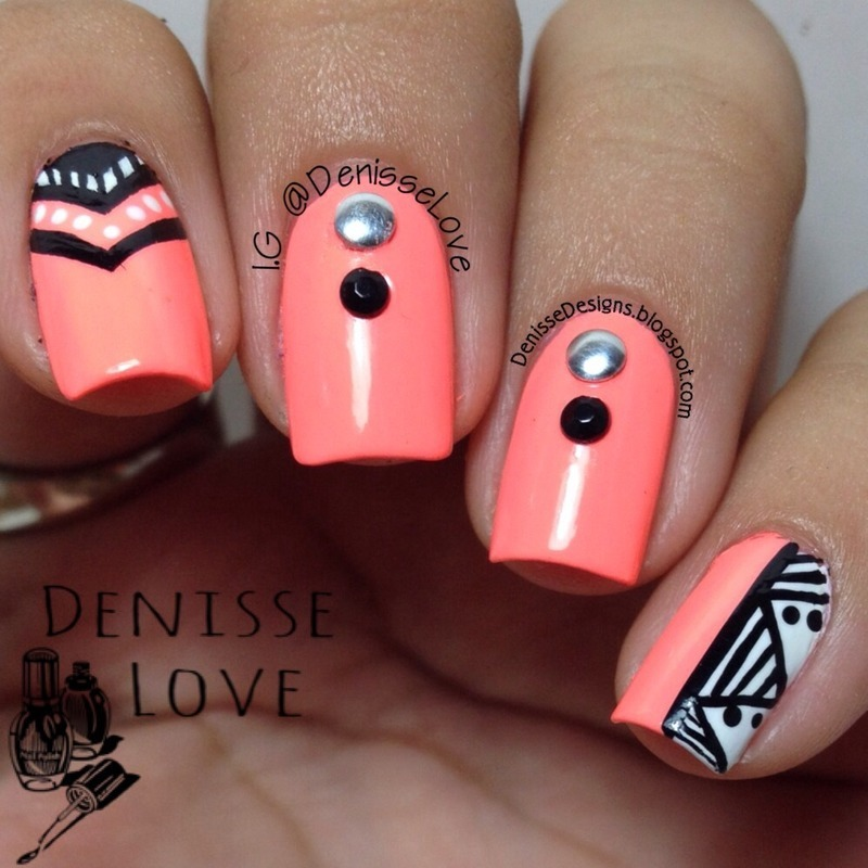 Neon in the Winter nail art by Denisse Love