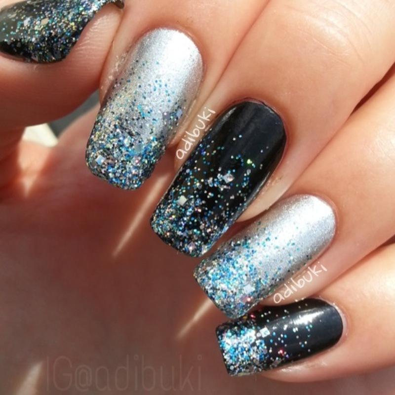 Glitter Gradient nail art by Adi Buki