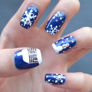 Snowy Winter Scene nail art by Jayne