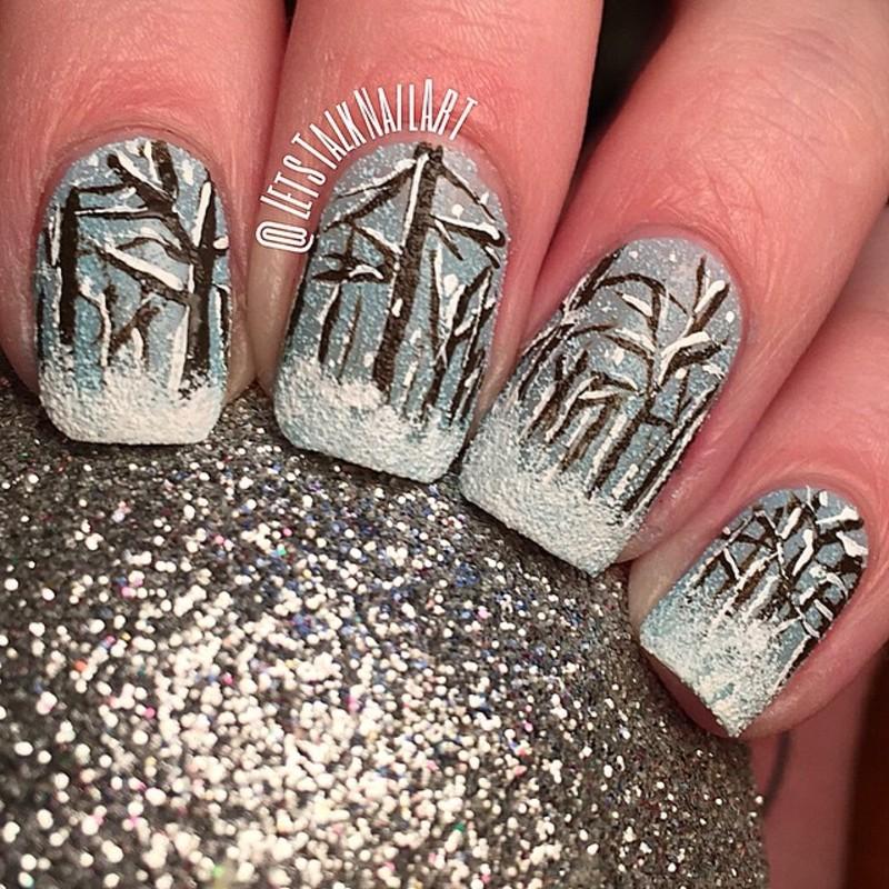 Winter Wonderland nail art by Lottie