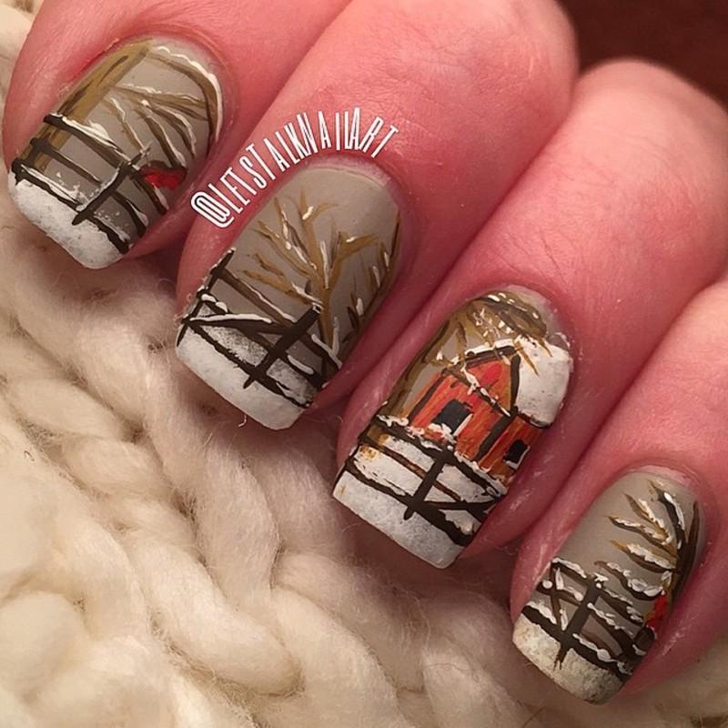 Farm Yard Winter nail art by Lottie