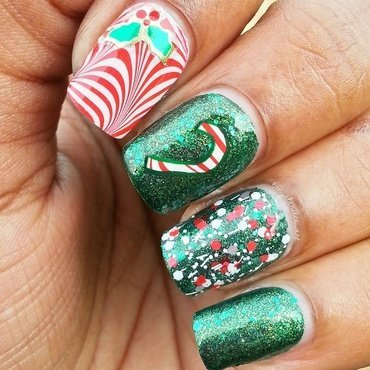 Watermarble Candy Cane nail art by Tonya