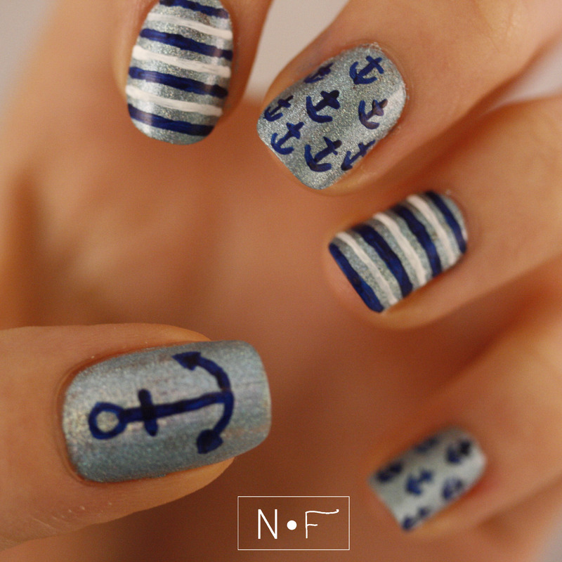 Winter nautical nails nail art by NerdyFleurty