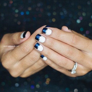 White & midnight Shimmer Colorblock nail art by Petite Peinture