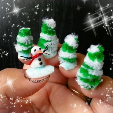 Winter Wonderland nail art by Lovely Mishra