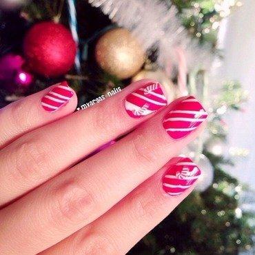 Candy cane nails nail art by Massiel Pena