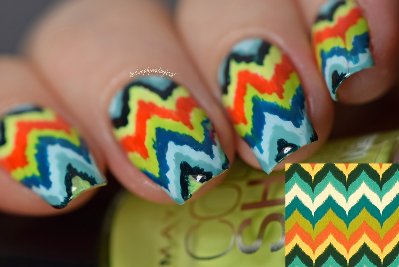 Trippy ikat chevron nail art by simplynailogical