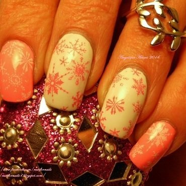 Pink Snowflakes nail art by Angelique Adams