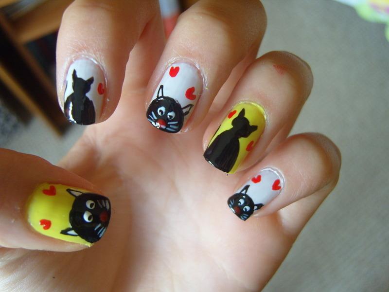 Cat :) nail art by Lakierowniczka