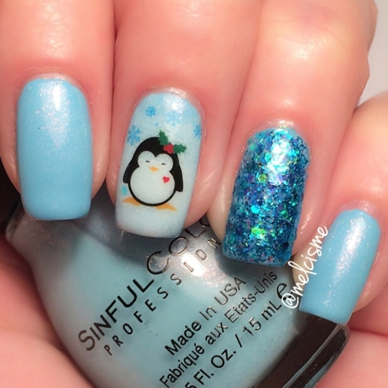 Penguin Cutie nail art by Melissa