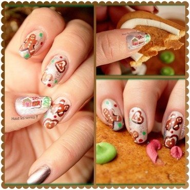 Gingerbread nail art by Elodie Mayer