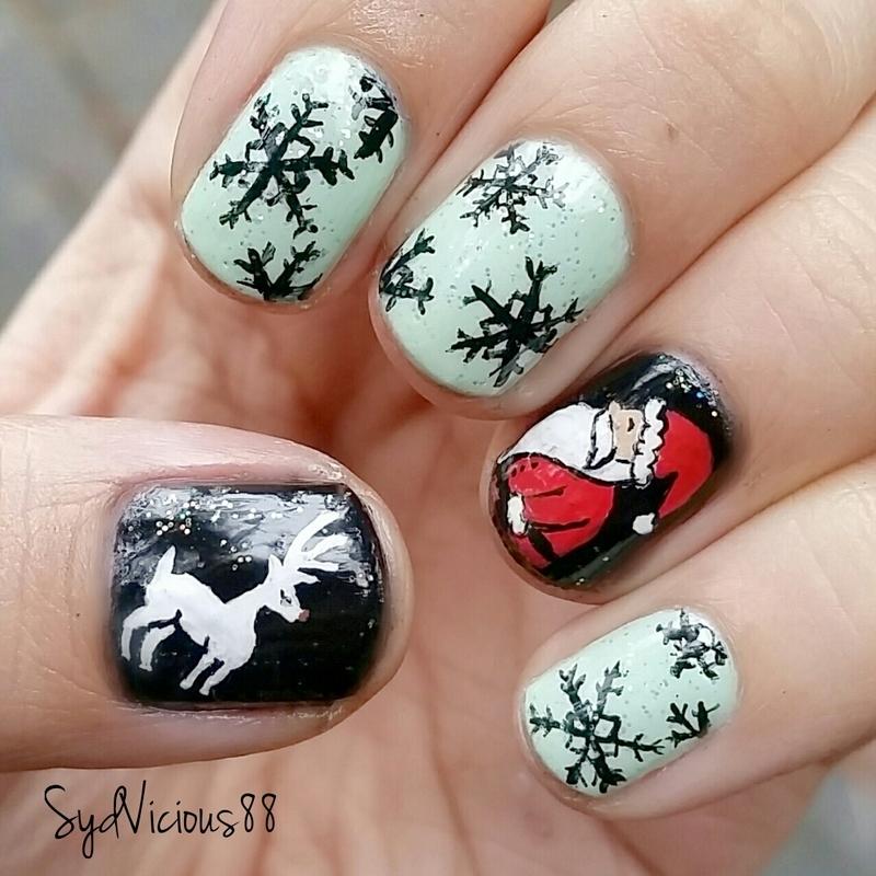 Santa and snowflakes nail art by SydVicious