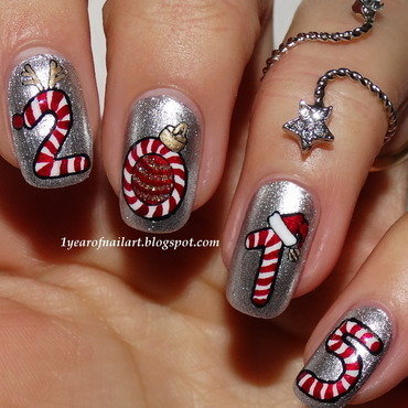 Candy cane nail art nail art by Margriet Sijperda