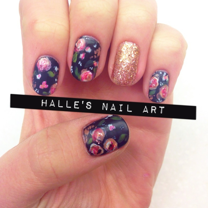 Stop and Paint the Roses nail art by Halle Butler