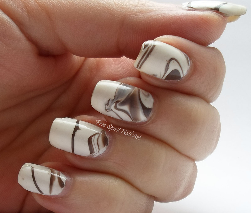 Coffee and Cream Water-marble nail art by Free_Spirit_Nail_Art