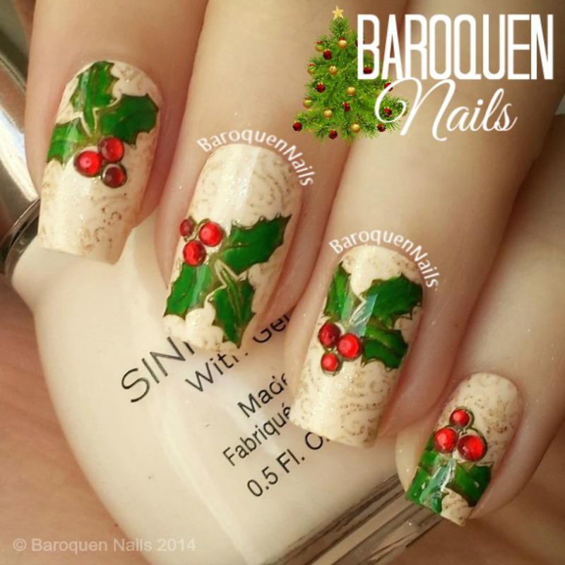 Holly nail art by BaroquenNails