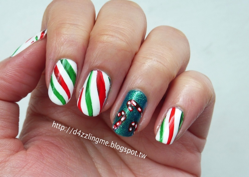 Candy Cane  nail art by D4zzling Me